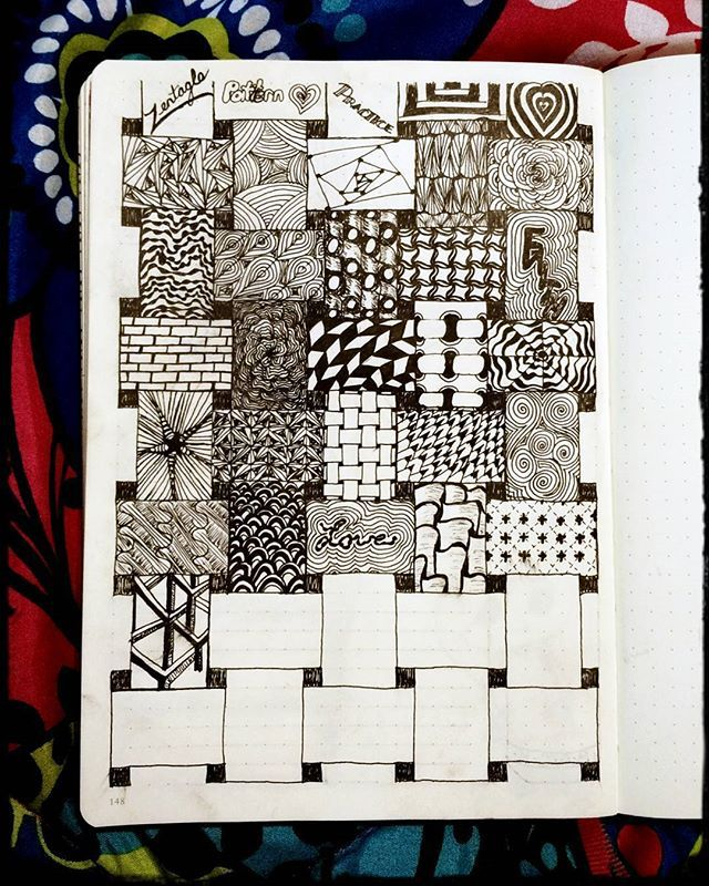 Just a few more to go & my page will be done! This zentangle idea is fun!