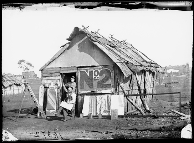 Wattle and daub hut, Hill End, New South Wales. 1872. v@e.
