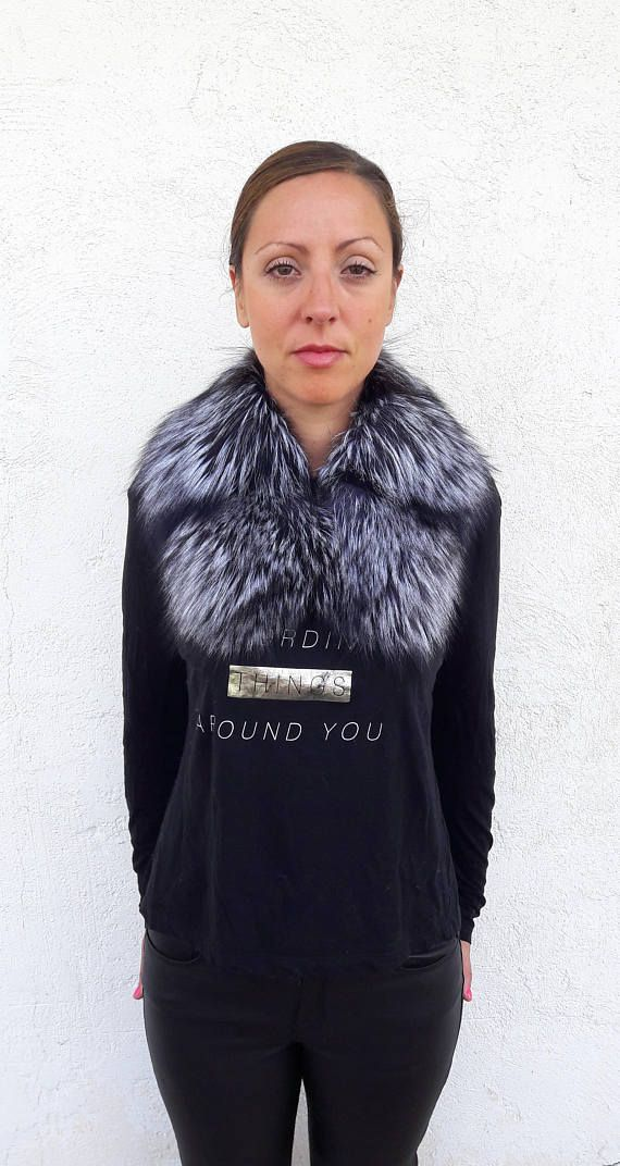 SILVER fOX fUR Collar Scarf FULL SKIN
