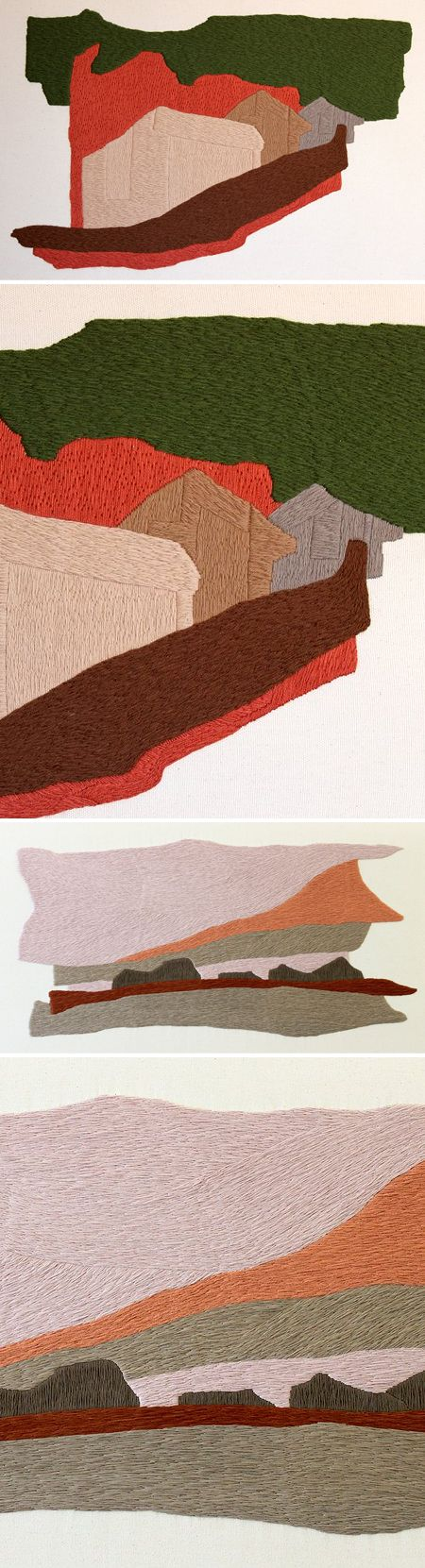 defne tesal - embroidered landscapes on fabric  I was actually thinking of this today but in Shetland colours!