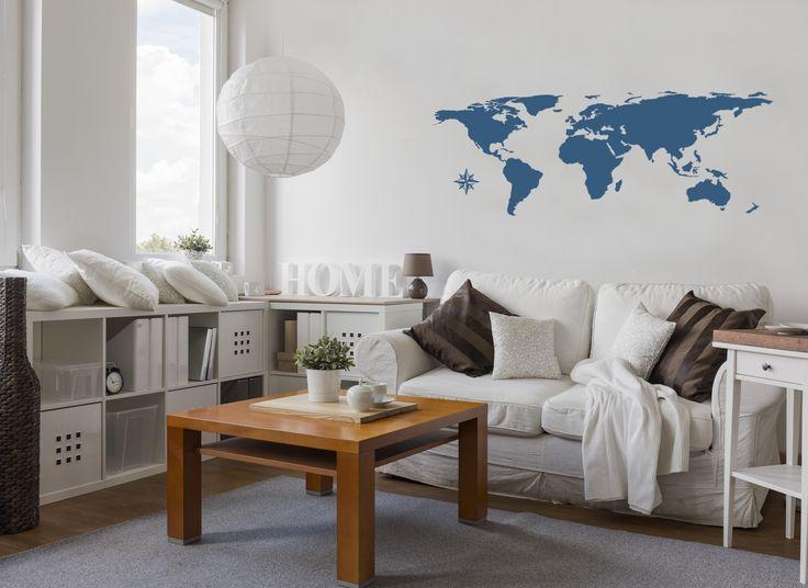 Vinilo adhesivo de pared con mapamundi ❤ Una selección versátil de decoraciones con mapas: varios estilos, colores y técnicas. En bimago!!!