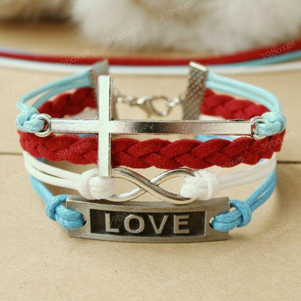 by (39boxes) Cross Bracelet - love bracelet with cross for girlfriend, gift for BFF, 39boxes, Bracelet, Metal, Bracelets, Xmas+gift, Girlfriend+gift, Fashion+bracelect, Love+bracelet, Red, Gift+for+girlfriend, Gift+for+her, Turquoise+bracelet, Unique+gift, Cross+bracelet, Cross+jewelry, Cross,