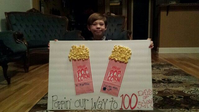 100 Days of school Popcorn Poster