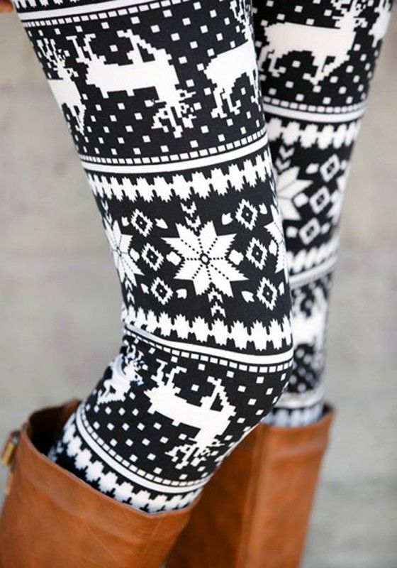 Cute and Cozy Holiday Leggings! Black and White Reindeer Pattern Elastic Waist Casual Dacron Leggings
