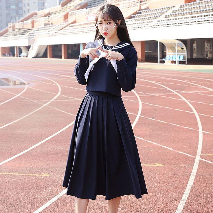 Marinero uniforme escolar de manga Larga navy marinero uniforme coreano japonés de alta conjunto uniforme escolar muchachas de la falda