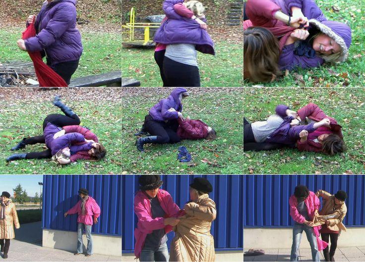 KT.10 Nasty surprise / Böse Überraschung (Two clips in one)  Tina muß während eines Spaziergangs an eine Auseinandersetzung mit ihrer Feindin Kathrin denken. Als sie um die Ecke eines Gebäudes geht, wird sie von hinten überfallen - es ist Kathrin! Sofort geraten sie in einen Ringkampf. Cliplänge: 8:14 Min (Zwei clips in einem)