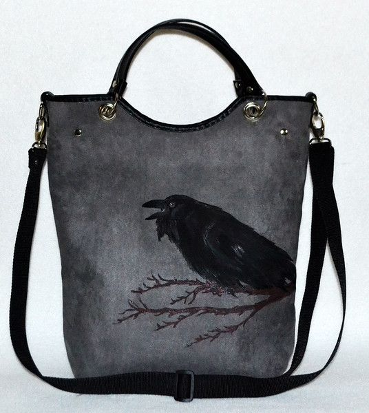 Torba z zamszu rockowa gothic kruk w UniQueBags na DaWanda.com