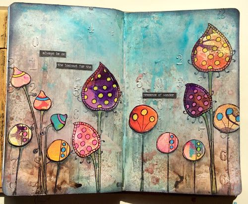 Claire's Crafty Makes: On the lookout....A gorgeous double page journal spread using PaperArtsy Eclectica³ {Kim Dellow}, {Sara Naumann} and {Darcy} stamps from Claire Snowdon.