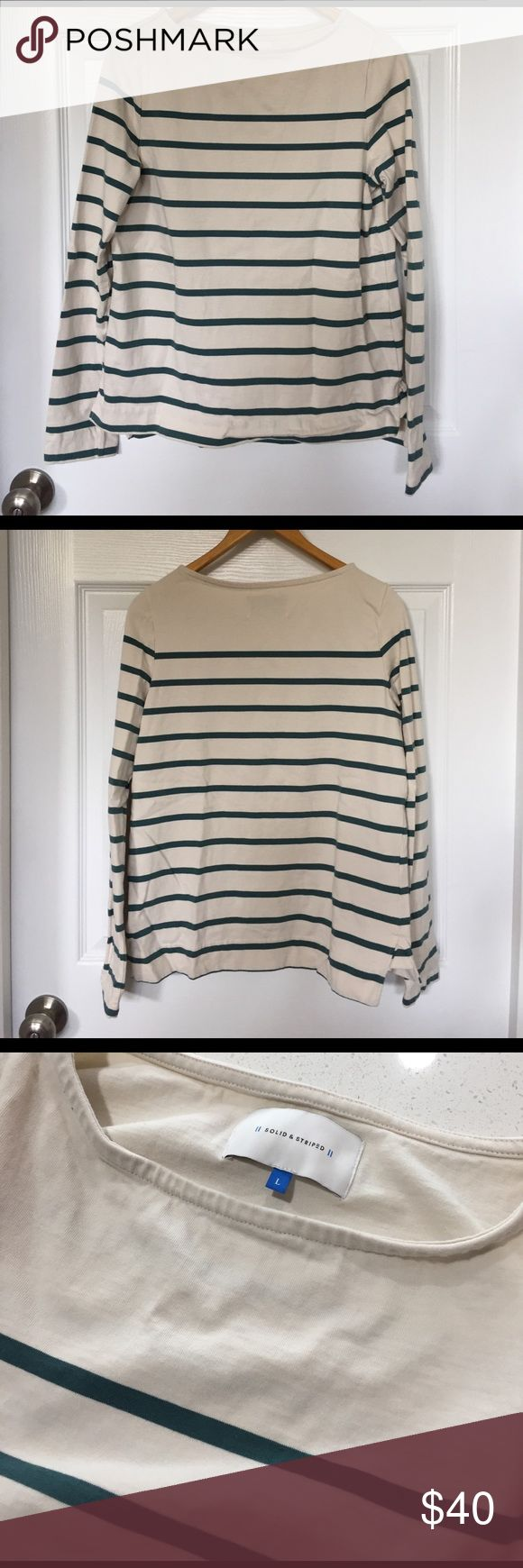 "Solid & Striped Breton boat neck tee Solid & Striped ""The Breton"" boat neck long sleeved striped shirt in cream & aspen stripe, size L, EUC. Purchased from ShopBop, worn twice. Material is heavyweight - it's more like a rugby shirt. Please note that this brand runs a bit small. ShopBop Tops Tees - Long Sleeve"