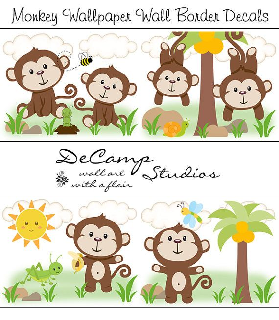Monkey Wallpaper Wall Art Border Decals for baby boy nursery or kids room jungle decor. Monkeys playing in a jungle #decampstudios