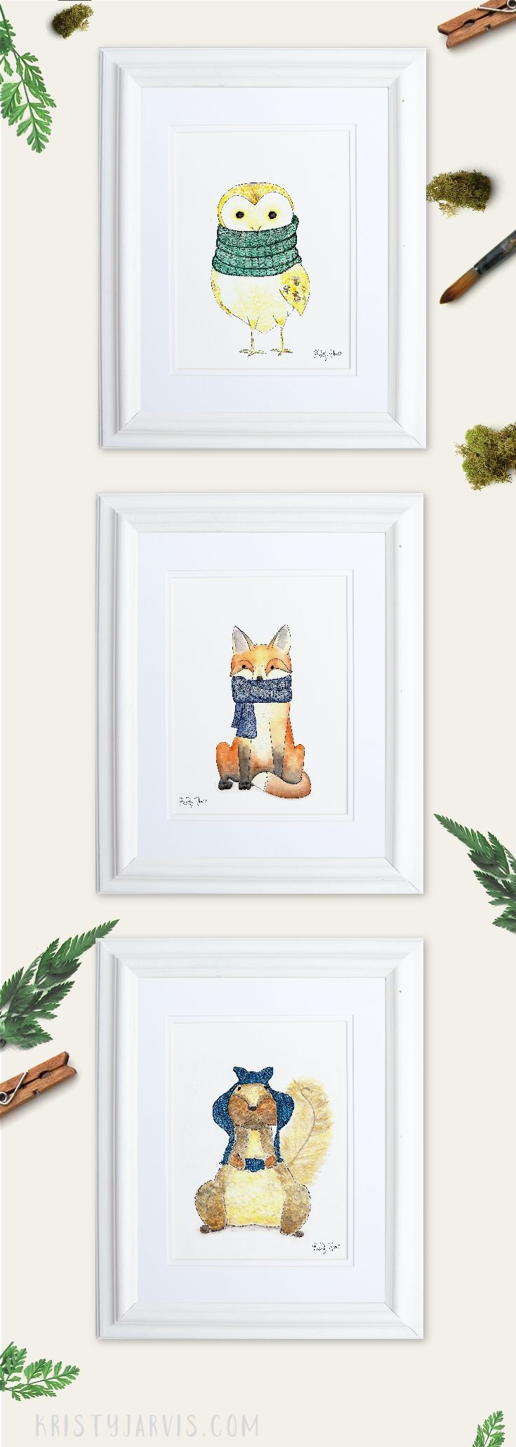 Woodland Animals in Knitwear - Watercolor Owl, Fox, and Squirrel