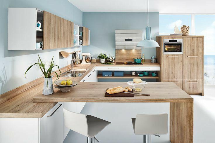 Cucina Contemporanea Bianca E Rovere Naturale Con Penisola A Sbalzo Arredo Interni Cucina Progetti Di Cucine Cucine