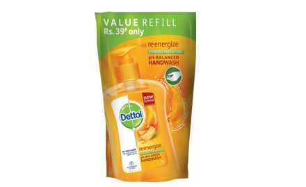 Save Rs 15 on Dettol handwash re-energize refill 185 ml (pack of 2). Valid at all super markets.