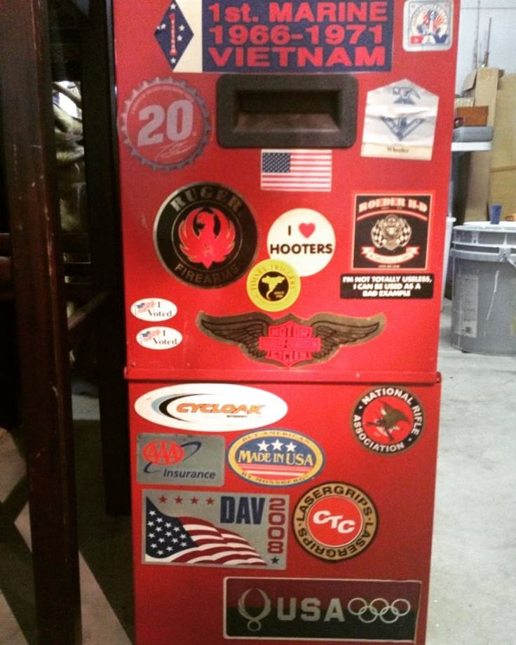 My dads toolbox. It still sits in my garage. I call it Autobiography of a Vietnam Veteran. My favorite sticker is the one that says Im not totally useless. I can be used as a bad example. That is SO my dad.  See you in the woods Mike. Keep Zac safe and stay warm. #mommy #metalhead #librarian #hippie #dreams #writer #writing #memoir #vietnam #leftbehind #veteransday #marines #usmc #ptsd #agentorange #rocknroll #heavymetal #restinpeace