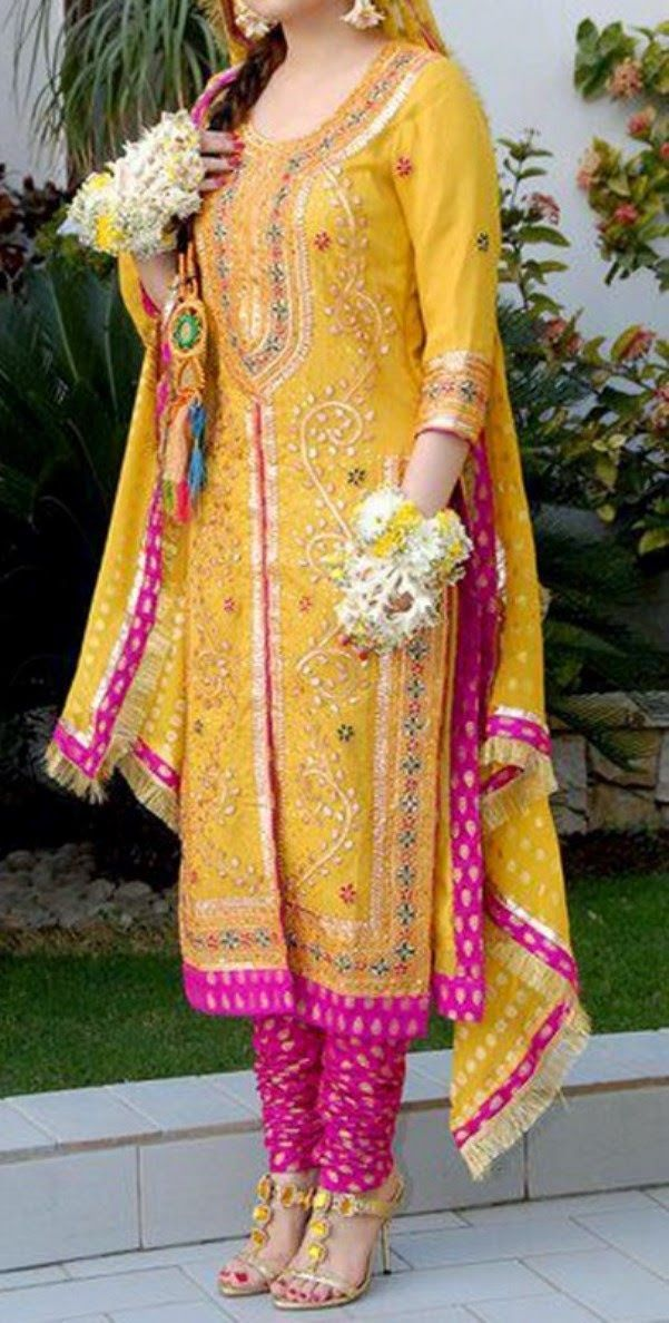 Pakistani Mehndi Dresses 2014 | Pakistani Mehndi Designs 2014 for Girls