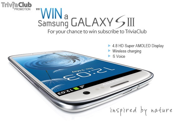 Win a Samsung Galaxy S lll - Answer the question to WIN!