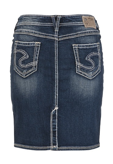 knee length denim skirt. These are so hard to find!!