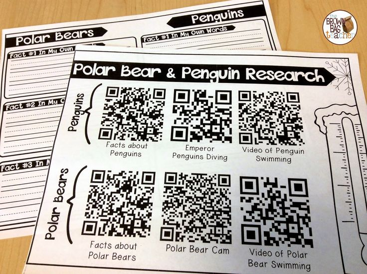 A great idea for using QR Code Research Mats. Perfect for supporting research in younger grades! Grab the penguins and polar bears mat as a FREEBIE!