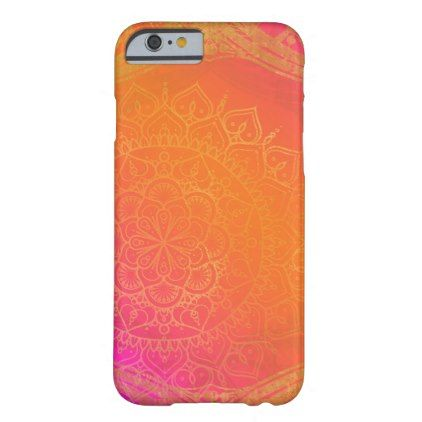 Fuchsia Pink Orange & Gold Indian Mandala Glam Barely There iPhone 6 Case - girl gifts special unique diy gift idea