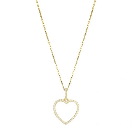 Heart necklace in Yellow gold 18 k and white diamonds.