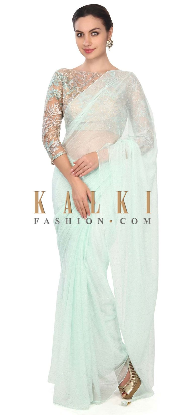Buy this Pista green saree matched with embroidered blouse only on Kalki