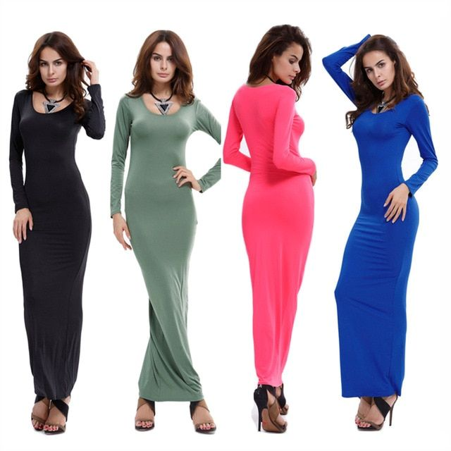 Long Basic T Shirt Dress Fitted Casual Bodycon Long Sleeve ...