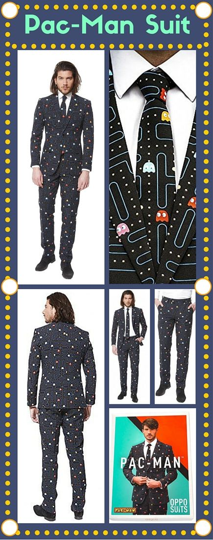 Get your hands on the premium 3-piece Pac Man suit by OppoSuits today. The flattering, slim fitting and geeky creative suit is the ultimate indulgence for arcade game enthusiasts who grew up witnessing the thrill of Pac Mac take on his enemies. #pacman #pacmansuit #suitandtie #geek #nerd #fanboy