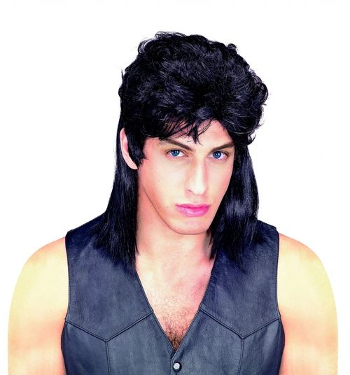 Short in Front Long in Back Mullet Wig - This is a classic 80s style mullet wig. Short with volume on top and long in the back. It comes in three colours and has a net on the inside with elastic around the edge for a comfortable fit. This wig is washable and great for finishing off your 1980s Halloween costume. #80s #yyc #wig #costume #mullet