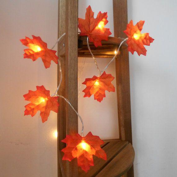 String Lights Pinterest : Autumn Leaves Fairy Lights String Lights Battery by AutumnWeddings Holidays Pinterest ...