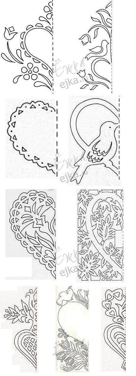 Открытки, вытынанки на День святого Валентина - шаблоны и схемы, поделки из бумаги своими руками / Детское творчество в детском саду: аппликации и поделки из цветной бумаги, картона для детей / Ёжка - стихи, загадки, творчество и уроки рисования для детей....PAPER TEMPLATES FOR THESE HEART CUT-OUTS!!