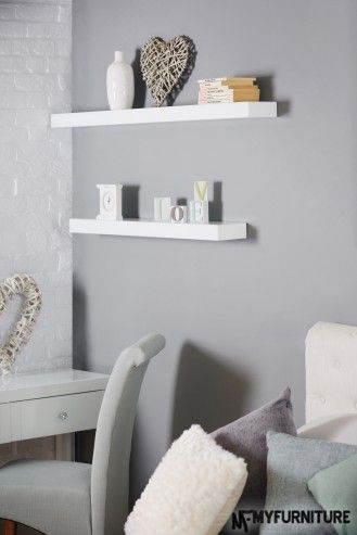 White Glass Luxury floating shelves wall storage display 90 cm and 120cm