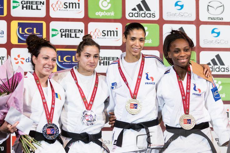 Majlinda Kelmendi (KOS), Andreea Chitu (ROU), Annabelle Euranie (FRA), Priscilla Gneto (FRA) - Grand Slam Paris (2016, FRA) - © Klaus Müller