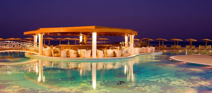 La Piscine Pool Bar - located in the center of the enormous lagoon style pool