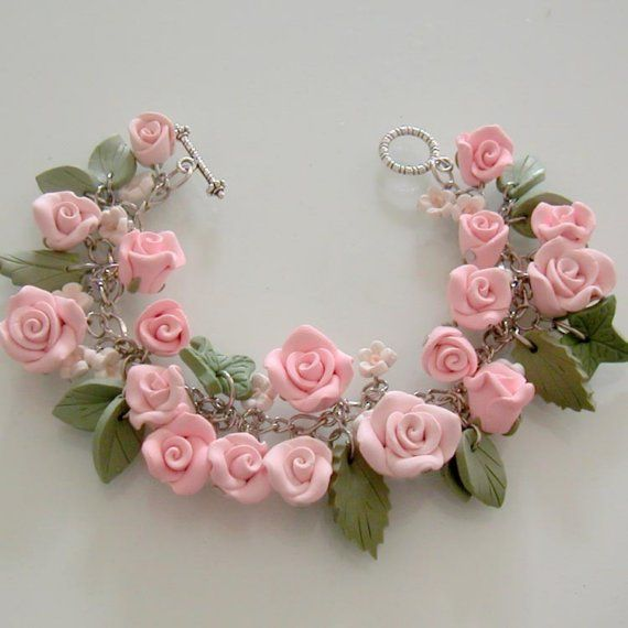 Pink Rose Bridal Charm Bracelet  Polymer Clay by beadscraftz,
