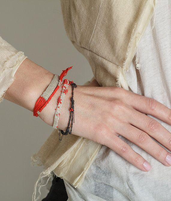 Contemporary Woven Bracelet, Red Tassel Bracelet, Boho Braided Bracelet, Double Wrap Bracelet, anniversary Jewelry,  Gold Cotton bracelet