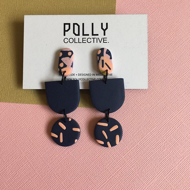 polymer earrings  +++  spotted & striped  +++  black matte and salmon pink    ++… Kaitlyn Robinson