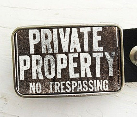 Private Property Belt Buckle Urban Industrial by bmused on Etsy, $ 20.00