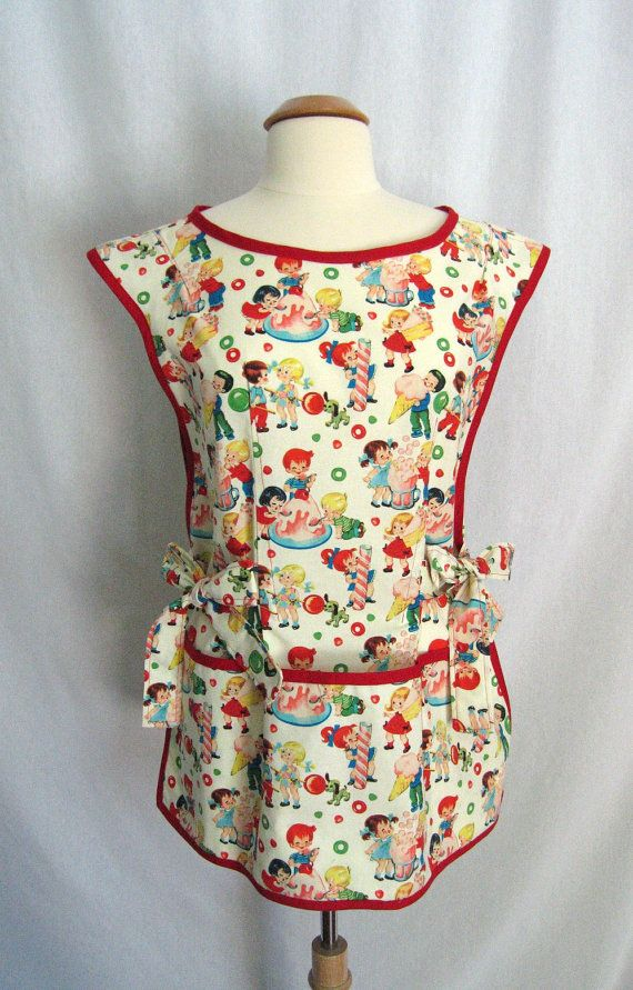 Retro Cobbler Apron Smock Apron with Ice Cream, Candy and Playful Children - Michael Miller Retro Candy Shop