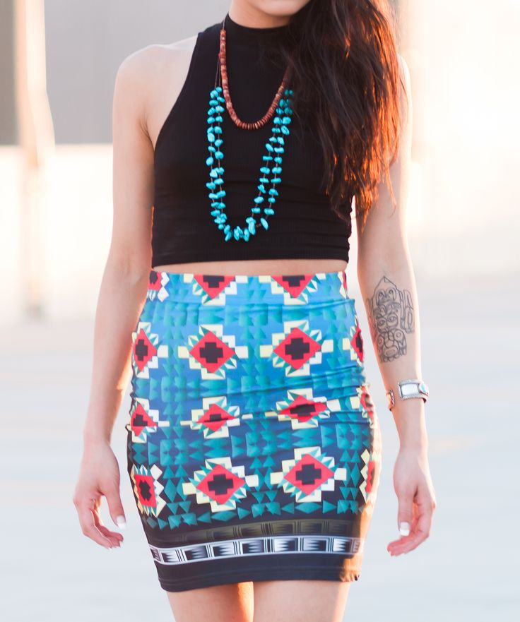 Jagged Steps Pencil Skirt by OXDX