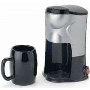 1 cup coffee maker, provides hot fresh coffee within minutes - Includes washable filter and mug. Illuminated on/off switch