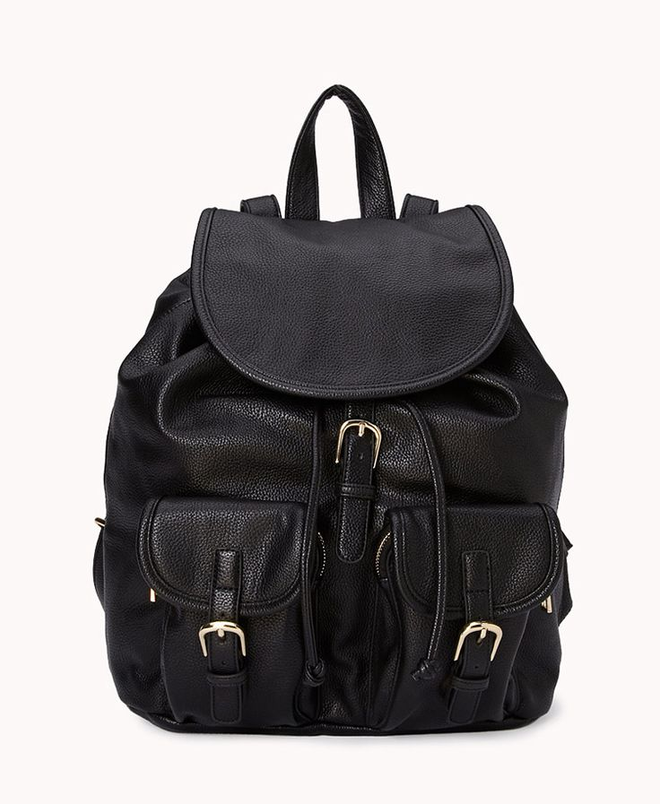 Faux Leather Backpack | FOREVER21 What's in your backpack? #FauxLeather #Accessories #Essentials #Bag #Buckles