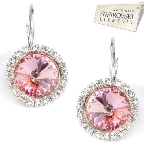 Štrasové náušnice s kryštálmi Swarovski Elements RIVOLI Light Rose Divine Jewellery eshop