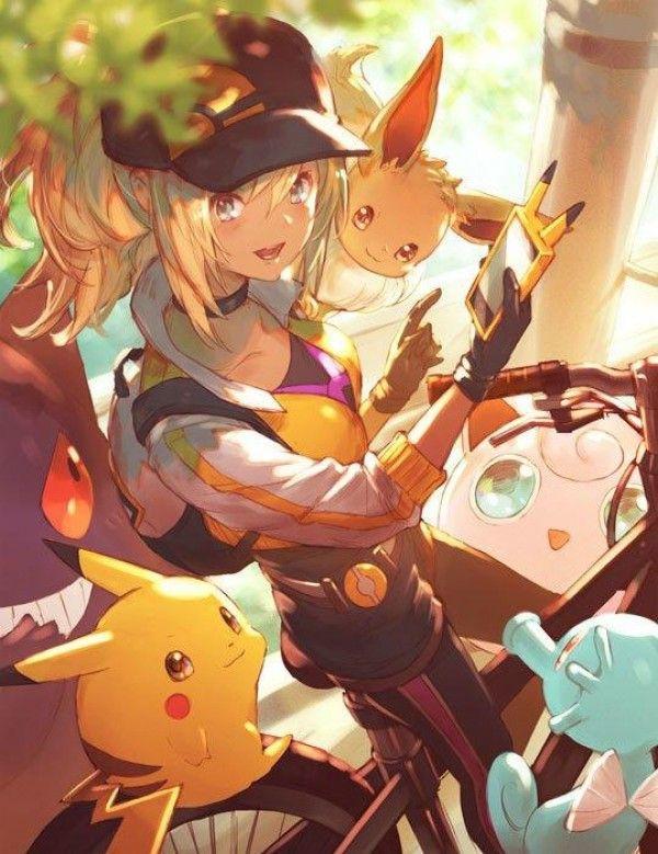 Eevee, Gengar, Pikachu, Horsea, Jigglypuff & their trainer