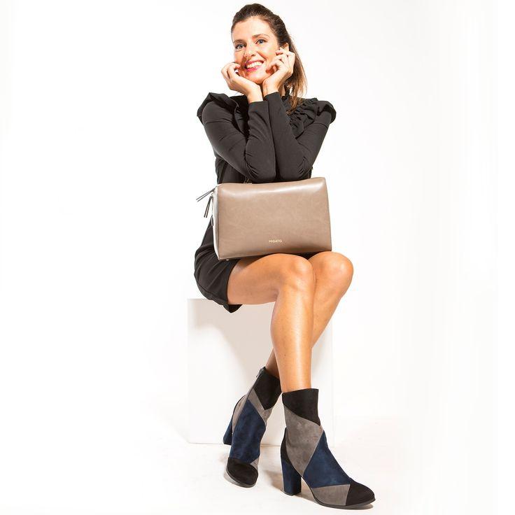 Blue-black suede bootie