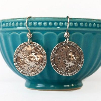 """RockHill Designs LLC -  Hand cast in sterling silver with a dimpled, oxidized center and etched rim, these earrings are perfect for everyday! 1 3/4"""" long, with French ear wires.     Handcrafted   .925 sterling silver   Spring Collection 2017   Flat rate USPS w/tracking shipping to anywhere in the USA for $5.95"""