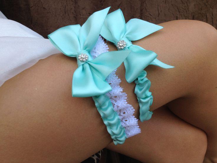 Tiffany Blue Wedding Bridal Garter Set ... with Rhinestone details.... $34.95, via Etsy.