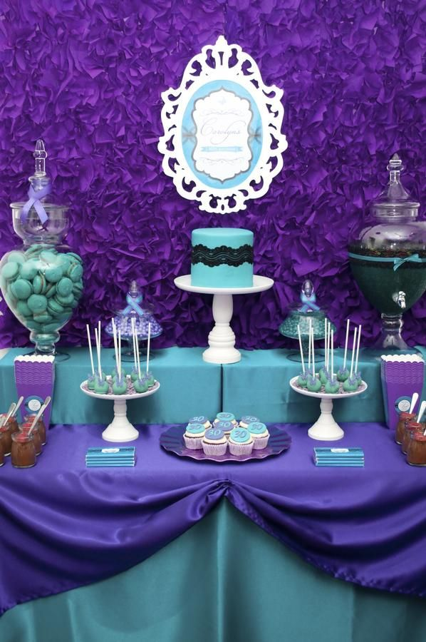 Purple And Aqua Baby Shower Decor Inspiration   Candy Buffet
