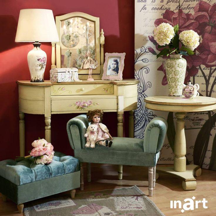 Grandma's stories of a long lost romantic era. Still visible via her boudoir. #inartLiving #HomeDecor #FurnitureStyle #FurnitureDesign #RomanticStyle #Furniture #Boudoir #Stools