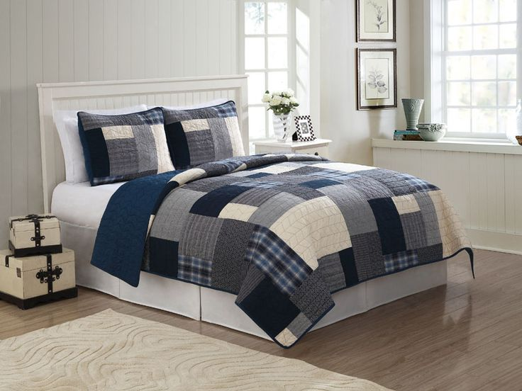 Navy Blue White Patchwork Teen Boy Bedding Twin Full/Queen King Quilt Set Plaid Cotton Bedspread