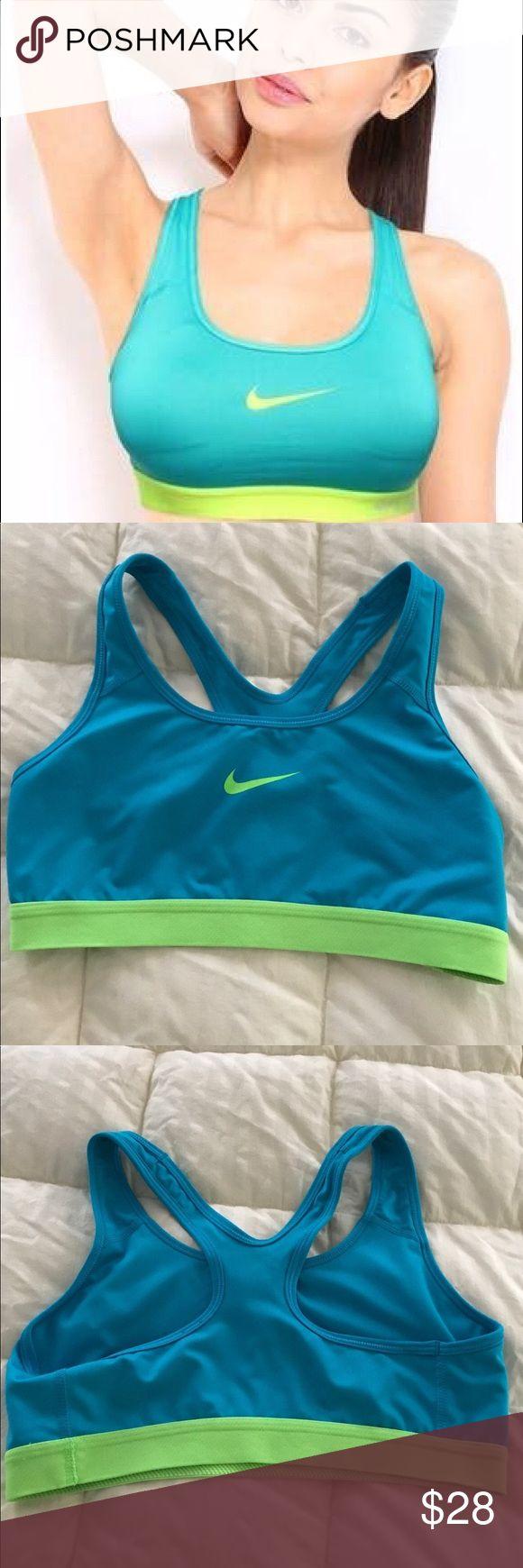 NWOT Nike Teal and Lime Logo Sports Bra M Sports bra